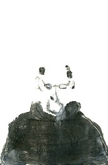 Head Down Monotype 1 (Ethan Reeves) Tags: blackandwhite black art illustration painting monoprint artist illustrations illustrator monotype observations oilpaint greyscale northernline ethanreeves observationsonthenorthernline