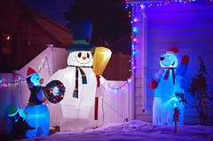 2014-01-07 21-46-46 (Sergey Ryazantsev) Tags: bear blue winter red snow colors dark lights colorful decorative decoration garland christmaslights decor