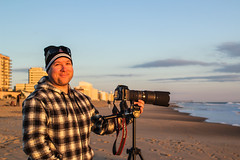 The Big 4 Oh (haddartist) Tags: ocean camera morning winter light sky cold beach me hat sunshine smiling cheese clouds self buildings matt dawn coast surf coat tripod sunny coastal oceanside foam chilly hotels beanie virginiabeach cheesy yourstruly goldenhour selfie oceanfront firststreet