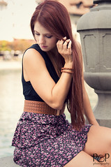Dream (pass_the_popcorn) Tags: city flowers summer woman brown girl fashion switzerland town outdoor swiss sommer luzern sunny skirt dreaming redhead frau redhair altstadt rotehaare flowerskirt vision:people=099 vision:face=099 vision:outdoor=069