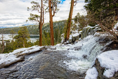 Lower Eagle Falls Vista (stephencurtin) Tags: california trees usa lake snow water rock landscape flow eagle south tahoe falls cedar lower
