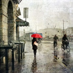 Rainy Day (Milla's Place) Tags: street red people rain umbrella sweden stockholm pavement gray foggy bicycles textures rainy textured millasplace magicunicornverybest magicunicornmasterpiece kerstinfrankart