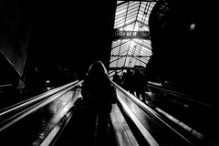 backlight situation @ zurich mainstation (Toni_V) Tags: street city urban bw monochrome station backlight schweiz switzerland blackwhite suisse 28mm zurich escalator rangefinder sbb hauptbahnhof zrich svizzera mainstation gegenlicht m9 rolltreppe 2014 svizra elmaritm railcity messsucher toniv leicam9 140321 mygearandme l1015115