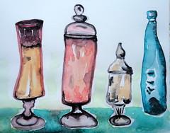 Bottles, by Cosette - DSC07242 (Dona Mincia) Tags: stilllife art glass watercolor painting paper arte bottles study transparency translucent transparent pintura transparncia transparente aquarela garrafas naturezamorta