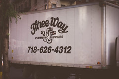 Three Way (Jeffrey) Tags: nyc newyorkcity morning summer signs newyork sign truck advertising logo phone panel manhattan july midtown business company signage summertime names brand logos branding brands businesses threeway phonenumber companies 3way 2015 truckpanel