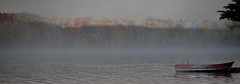 Autumn Dawn (Knarr Gallery) Tags: autumn lake sunrise glow morning dawn boat dock muskoka leaves colors nikon d300 mist knarrgallery darylknarr knarrphotography