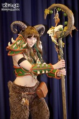IMG_6408 (Neil Keogh Photography) Tags: orange brown green girl bag cosplay horns staff fantasy scifi videogame armour spikes faun mcmcomicconmanchester2015