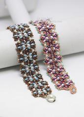 Aulea Bracelet (BeeJang - Piratchada) Tags: beadweaving beading beadwork superduo bracelet tutorial pattern miyuki swarovski crystal pearl jewelry handmade pink purple blue bronze brown turquoise