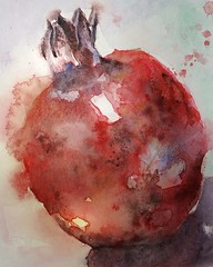 Pomegranate (sushipulla) Tags: watercolour watercolor fruit pomegranate art painting artwork paper red