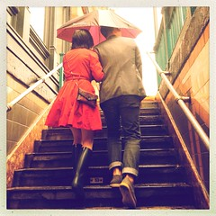 (Graceiee B) Tags: people woman ny newyork love fashion umbrella interesting couple rainyday steps adorable streetphotography tribeca streetshot iphone springshowers nyplaces placetovisit iphonography hipstamatic iphone4s gracebrignolle uploaded:by=flickrmobile flickriosapp:filter=nofilter hiptamaticoggl franklinesreet