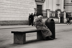 In Vain Lives He Who Brings Assistance To None (Whitto27) Tags: old people white black lady person mono women candid krakow latin