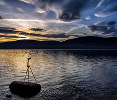 The Right Moment (GrizzlysGhost) Tags: camera sunset lake mountains clouds landscape photography photo view time balance moment