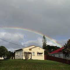 An afternoon rainbow at West Auckland, New Zealand. (david.lim) Tags: square squareformat iphoneography instagramapp uploaded:by=instagram