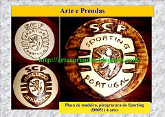 Placa de Sporting pirogravada (D0051) (ammaneta) Tags: wood artwork arte drawing artesanato burning handicrafts madeira prendas quadros pirogravura pirografia pirography