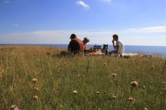 breakfast on the bluff (manywinters) Tags: morning family friends sea breakfast sweden baltic southern pasture bluff