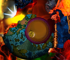 To Live and Die in the Milky Way (eotiv) Tags: world moon abstract art way stars dangerous cg energy bright earth destruction space bad deep eaten down science x gone nebula planet end rays supernova lightening universe milky cosmic broke gets existence distant invasive violent discharge poorly indifferent represented discharges goldylocks srated