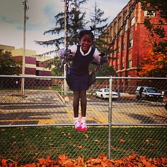Black Girls Swing Playground After School Grand Rapids Montessori Lourdie 10-24-13 (stevendepolo) Tags: school girls black playground square grand rapids squareformat after montessori mayfair iphoneography lourdie instagramapp uploaded:by=instagram