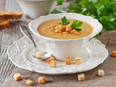 Chick-pea soup (Oxana Denezhkina) Tags: dinner bread table lunch soup healthy italian traditional tasty nobody spoon bowl vegetable pasta delicious health supper diet parsley bouillon gastronomy chickpea vitamin