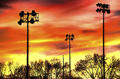 Sunset At The Ball Field (Wes Iversen) Tags: trees lights sunsets hdr odc flagpoles hcs ballfields nikkor18300mm ourdailychallenge clichsaturday