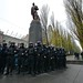 Police protecting the statue of Lenin