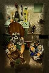 1970's Bathroom Party (Andrew Squires) Tags: camera plant pen fix monkey wolf random champagne tiger toilet funky chick wc tiles garlic onion 1970s leak domperignon handwash cif veuvecliquot wolfchicktiles