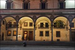 Firenze notte (angelsgermain) Tags: windows light italy night florence italia doors arches scooter balconies firenze archway loggia loggiadeiservi piaxxadellasantissimaannunziata