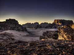 Wadi Rum sunset landscape (Luc V. de Zeeuw) Tags: bridge mountains rock sand sandstone rocks desert wadirum jordan granite aqaba valleyofthemoon rockbridge nabateans