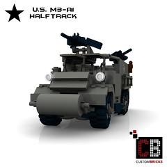 LEGO Custom WW2 M3 A1 Halftrack CB0 (LA-Design2012) Tags: army us lego wwii ww2 instructions a1 custom m3 halftrack moc m3a1 bauanleitung ladesign halbkettenfahrzeug custombricks
