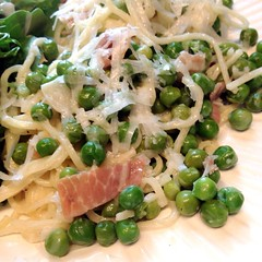 "Fresh angel hair pasta, peas, prosciutto, and garlic made for a delicious dinner tonight. What's for dinner at your house tonight? • <a style=""font-size:0.8em;"" href=""https://www.flickr.com/photos/54958436@N05/19003519481/"" target=""_blank"">View on Flickr</a>"