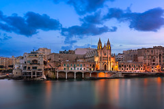 Balluta Bay and Church of Our Lady of Mount Carmel in the Evening, Saint Julian, Malta (ansharphoto) Tags: architecture balluta bay beach blue building carmel cathedral church city cityscape culture darkness dusk electric embankment europe european evening gothic history iconic illuminated island julian lady landmark lights malta maltese medieval mediterranean monument mount neo night old our pano panorama sea seascape sky skyline town travel twilight urban vacation water