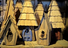 """For Rent, for the bird who wants the more natural look."" (Bennilover) Tags: artisan birdhouses birds shingles roofs crafts homes rent buy wooden wood rogersgardens newportbeach california woodworking"