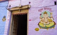 IMG_11472 (Manveer Jarosz) Tags: bharat ganapati ganesha ganpati happywedding hindustan incredibleindia india jaisalmer jaisalmerfort rajasthan shubhvivah art auspicious blessing blue door doorway entrance home house paint painting purple tradition wall
