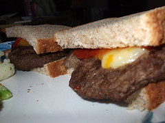 Burgers. (dccradio) Tags: lumberton nc northcarolina robesoncounty food eat meal yum lunch dinner supper cheeseburger hamburger meat meltedcheese catsup ketchup sandwich bread
