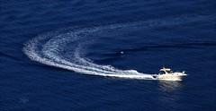 Change of course (M.G.N. - Marcel) Tags: picmonkey agua olas barca azul blanco personas flickr