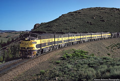 United States Steel F7s in Wyoming (jamesbelmont) Tags: train wyoming streamliner railroad ore mining