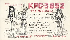 The Viking: The Whistler, Battle-Axe, Jumping Jack & Dangerous Dan - Portland, Oregon (73sand88s by Cardboard America) Tags: qsl cb cbradio vintage qslcard theviking oregon dirty
