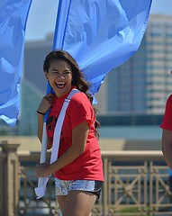 The Happy Flag Girl (swong95765) Tags: girl lady flag carry smile laugh wind banner pole parade happy marching colors joyful