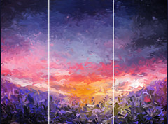 Lavender Dreams Triptych (chiaralily) Tags: chiaralily painting photoshop art lavender field spring colourful three sunrise explored triptych purple pink abstract impressionist