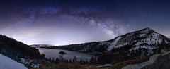 Milky Way Panorama over Lake Tahoe's Emerald Bay (Beau Rogers) Tags: laketahoe california emeraldbay fannetteisland night nighttimephotography sierra nevada americanwest scenic landscape panorama stitchedpanorama rokinon 24mm rokinon24mmf14 light pollution lightpollution