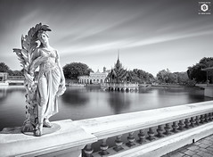 ~ Bang Pa-In Royal Palace ~  Thailand ~ (Chirag Khatri) Tags: nikon d7200 thailand nikonmea travel travelphotography tamron tamron1530 art architecture lake water balck white bw blackandwhite statue sky clouds monochrome outdoor blending tourists ayutthaya pov modern unique explore flickr wide