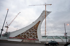 Olympic Renovation (caribb) Tags: montreal montréal quebec québec canada urban city 2017 street streets eastend mercierhochelaga mercier olympicstadium olympictower construction thebigo thebigowe cranes constructioncrane 1976olympicstadium sportsstadium officebuilding officetower leaningtower inclinedtower observationtower rennovation landmark stadium modernarchitecture design