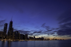 Nothing lasts forever / (aerojad) Tags: chicago spring lakemichigan skyline olivepark park cityscape longexposure slowshutter colorful reflection reflections bluehour sunset clouds
