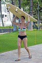 2 good reasons (RicoLeffanta) Tags: woman usa sexy girl beautiful lady female hawaii waikiki oahu board rico bust bikini surfboard cleavage avenue busty carrying kalakaua buxom toting boxom leffanta