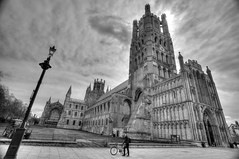 Ely Cathederal, Cambridge B&W (starman 59) Tags: cambridge white black jeff church lamp bike bicycle canon eos worship post religion cathederal april ely hdr photomatix schwingen 2013 eos5dmk2