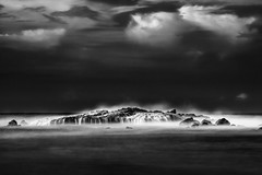 Eternal Tides II (Alexander Ipfelkofer) Tags: ocean longexposure travel blackandwhite seascape beach rock indonesia landscape waterfall asia waves lagoon adventure laguna tides nationalgeographic pari bayah sawarna banten