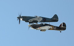 Spitfire and Hurricane. Battle of the Atlantic 70th Anniversary (Jeffpmcdonald) Tags: uk liverpool hurricane spitfire 70thanniversary rivermersey battleoftheatlantic mygearandme