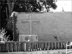 Cross @ Trinity Church (joeldinda) Tags: bw church playground wall cross brickwork joeldinda c50