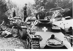 German Panzer I, Panzer II, and SdKfz. 251 vehicles in Poland, circa 3 Sep 1939.