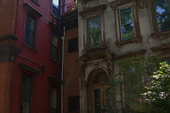 Proud-faced to the Street (MPnormaleye) Tags: street urban brick window stone architecture 35mm buildings doors arch apartment manhattan 1800s entrance utata weathered mansion metropolitan brownstone ruined
