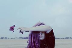 (emmakatka) Tags: blue portrait girl field self butterfly hair flying eyes hand purple finger country lips covered emmakatka